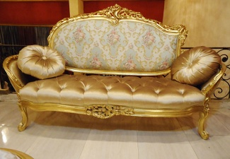 Antique French Carved Sofa in Bright Gold Leafs - gold carved sofa