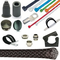 Cable lugs, Cable terminals, Polyamide cable ties, Nylon cable ties, Cable pipe clamps, Polyamide cable sleeves, Screw plugs