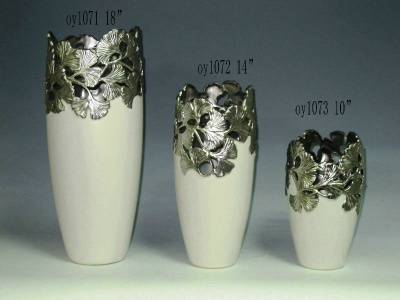 Decorated Ceramic Plated Vase - oy1071-oy1073
