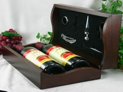 painted hinged lid paulownia wooden wine box for 2 bottles - JH-003