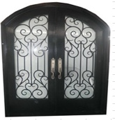 Arch top square top wrought iron entry door - 31940