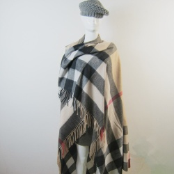 Square Checked Pashmina Kashmir Shawls Wrap