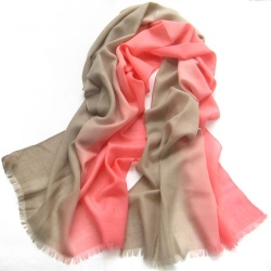 Peach Pink To Brown Degrade Cashmere Silk Scarf Wrap With Frayed Hem