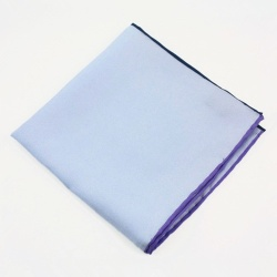 Light Blue Solid Small Pocket Square Silk Scarves Contrast Rolled Edge