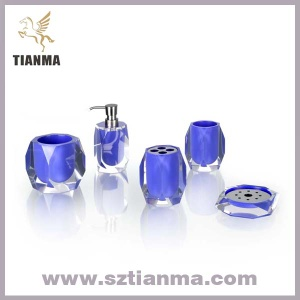 Blue acrylic/ polyresin bathroom accessories sets for hotel - TM004B