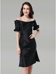 Sheath/Column Off-the-shoulder Knee-length Taffeta little black dressess