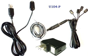 Remote Control IR Repeater/ IR Extender with 1 Receiver & 4 Emitters ( for 4 AV Devices ) & USB 5V adaptor U104-P