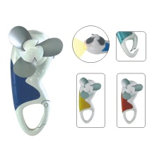 Function Carabiner Mini Fan With LED Light Torch Flashlight