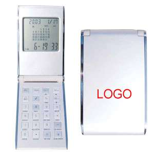 Calculator with calendar, aluminium surface - S802