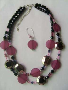 Necklace,glass necklace,necklece set - F-NE00091,F-NK000092