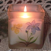 glass candle holder with hand drawing - 5283, 5289